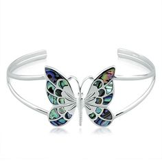 Sterling Silver Paua Shell Butterfly Bangle