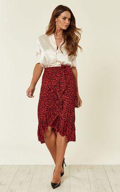 Red Leopard Print Frill Wrap Skirt 5a167b562