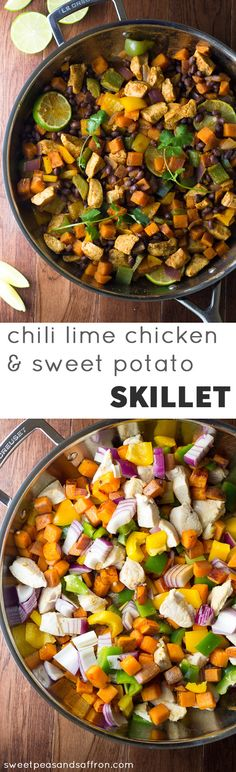 An easy and delicious one-pot dinner that is packed with healthy ingredients: chicken, sweet potatoes, black beans, and bell peppers. Flavored with lime juice and chili powder and ready in 45 minutes! @sweetpeasaffron