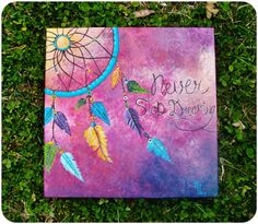 """Colorful, Dream Catcher, """"Never Stop Dreaming"""" ((Made to Order)) ORIGINAL Acrylic Painting by Rebekah Jiracek on Etsy, $70.00"""