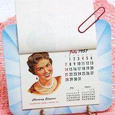 Beauty Salon Decor, Vintage Calendars, Hair Styles, Old Advertising / 1950s / Blue. $24.50, via Etsy.