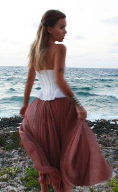 Pink maxi skirt / white bustier top