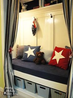 closet turned reading nook and toy storage, bedroom ideas, closet, lighting, shelving ideas, storage ideas, woodworking projects, Hooks added to hang dress ups