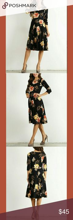 🌹BLACK FLORAL MIDI DRESS🌹 🌹Knit 🌹96% Polyester  🌹4% Spandex  🌹🌹🌹Made in the USA😘🍭👍 Dresses Midi