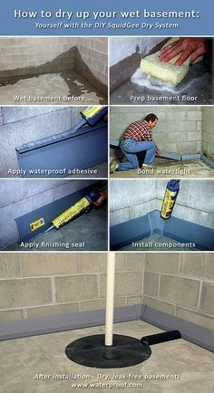 Jul 2017 - How to waterproof your basement. Do-it-yourself! It's easy! See more ideas about Basement, Wet basement and Basement flooring. Dry Basement, Basement Makeover, Basement Bedrooms, Basement Renovations, Home Remodeling, Basement Waterproofing, Basement Ideas, Basement Finishing, Leaking Basement