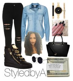"""StyledbyA"" by imaya-nyemah on Polyvore featuring Giuseppe Zanotti, Vero Moda, Style & Co., MICHAEL Michael Kors and Una-Home"