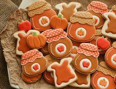 The Sweet Adventures of SugarBelle Jelly Jar Cookie Platter Thanksgiving Cookies, Fall Cookies, Cute Cookies, Thanksgiving Recipes, Meringue Cookies, Sugar Cookies, Iced Cookies, Big Cookie, Jelly Jars
