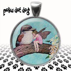 Friends  Fairy and Kookaburra Large Glass-Covered pendant by Polkadotdog