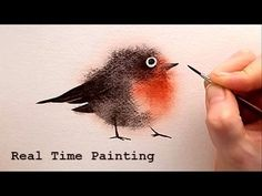 "Explained Real Time Watercolor Illustration ""Fuzzy Bird"" Painting by Ira..."