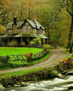 Beautiful old cottage by the brook, Devon, England photo via holly Beautiful Homes, Beautiful Places, Beautiful Buildings, Devon England, Devon Uk, North Devon, Oxford England, Cornwall England, Yorkshire England