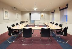 A U-shaped meeting setup in our Mezzanine at Skene House Conference Suites.
