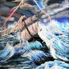 Contemporary Artwork, Contemporary Artists, Water Flood, Social Media Art, Sea Storm, Stormy Sea, Art Daily, Pin Art, Decorating Blogs