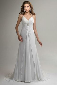 2014 Empire Beach Wedding Gowns Backless Halter Beaded Rouched Chiffon Flowing Court Train Garden A-Line Wedding Dresses for Pregnant Women  http://www.dhgate.com/store/product/2014-empire-beach-wedding-gowns-backless/191423080.html