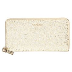 kate spade new york 'glitter bug - lacey' zip around wallet ($158) ❤ liked on Polyvore featuring bags, wallets, purses, gold, white patent leather bag, white bags, patent leather bags, kate spade and white patent bag