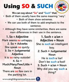Using SO and SUCH, Examples Sentences – English Grammar Here – English Lessons English Grammar Rules, Teaching English Grammar, English Sentences, English Language Learning, English Phrases, Learn English Words, Grammar Sentences, Grammar Tips, Teaching Spanish