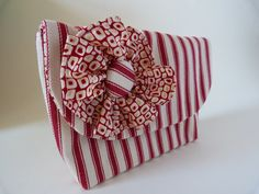 Coral Red Ticking Clutch Purse with Rosette. $40.40, via Etsy.