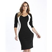 Simply WOW Monochrome Illusion Dress - Large Size Clothing and Maternity Wear - www.plussizedglamour.co.uk