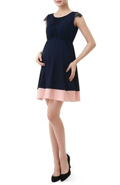 Kimi and Kai 'Nell' Lace Trim Colorblock Hem Fit & Flare Maternity Dress available at #Nordstrom