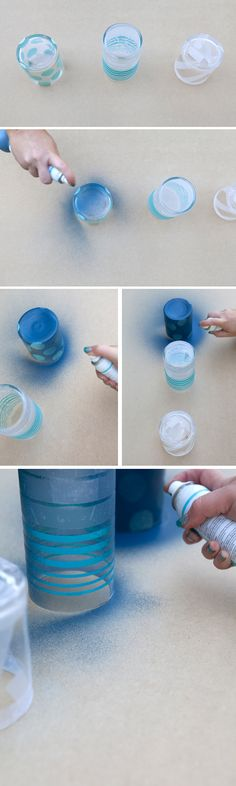 #DIY ~ spray painted and frosted glass jars, so cute!