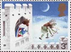 Christmas 3p Stamp (1973) 'Good King Wenceslas, the Page and Peasant'
