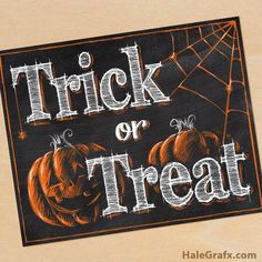 FREE Printable Halloween Trick or Treat Chalkboard Art - Chalkboard - Chalk Art Blackboard Art, Chalkboard Drawings, Chalkboard Lettering, Chalkboard Designs, Chalkboard Ideas, Halloween Tafel, Halloween Signs, Halloween Art, Happy Halloween