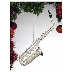 Silver Saxophone Tree Ornament #hiddentreasuresdecorandmore #silver #saxophone #christmas #ornaments
