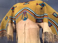 Detailed beadwork on Lakota woman's dress (Teton Sioux), Leather, tiny… Native American Clothing, Native American Regalia, Native American Design, Native American Beadwork, Native American Tribes, Native Americans, Plains Indians, Bead Loom Bracelets, Gowns