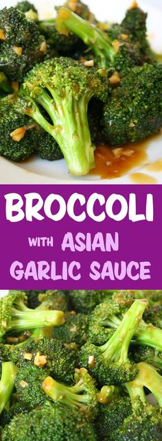 This flavor knocks our socks off! And it smells heavenly when the garlic sauce hits the pan. Such a quick and easy side dish for Asian-style meals brokkoli Broccoli with Asian Garlic Sauce Sauce For Broccoli, Asian Broccoli, Garlic Broccoli, Chinese Broccoli Recipe Garlic, Chinese Garlic Sauce, Steamed Broccoli, Vegetable Side Dishes, Vegetable Recipes, Vegetarian Recipes