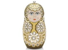 Limited Edition Russian Nesting Doll Minaudière by Judith Leiber Matryoshka Doll, Beaded Purses, Beaded Bags, Judith Leiber, Vintage Purses, Cute Bags, Evening Bags, Evening Clutches, Bead Art