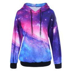 Galaxy Drop Shoulder Hoodie - COLORMIX L