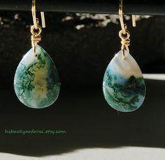 Teardrop Moss Agate Earrings in Gold or Silver by HiBackyardRose #green #natural #StPatrickDay
