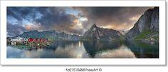 """Panoramic image of lofoten islands, norway during beautiful sunset."" - Art Print from FreeArt.com"