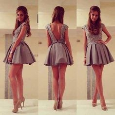 dress grey girl glitter heels