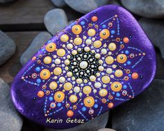 Purple mandala, painted rocks, painted stone, spiritual stones, energy stones…