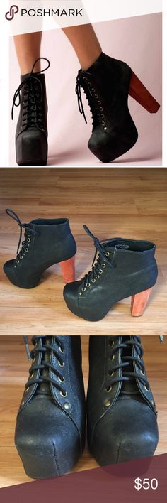 Jeffrey Campbell black Lita boots size 7 Pre loved iconic Jeffrey Campbell  lita boots! Size 7 Some scuffs and signs of wear but great overall  condition!
