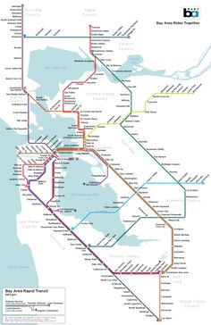 The Imaginary BART Map by Jake Coolidge is a rendering of what the Bay Area Rapid Transit system might look like if it actually served the entire San San Francisco Subway, St Francisco, San Pablo Bay, Bay Area Rapid Transit, Bay County, Marin County, County Cork, System Map, Metro Map