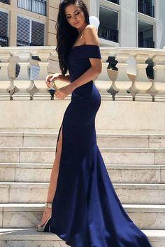 #prom #promdress #evening #eveningdresses #eveninggowns #long #mermaid Alluring Off-the-shoulder Side Split Long Prom Dresses, Sexy Long Mermaid Evening Dresses