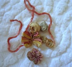 ANTIQUE FRENCH SILK RIBBONWORK ROSEBUDS SILK OMBRE FRENCH SILK CHENILLE TINY LOT