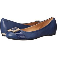 Calvin Klein Madeline (Indigo Nappa/Patent) Women's Shoes (76 CAD) ❤ liked on Polyvore featuring shoes, flats, navy, patent leather shoes, navy blue shoes, navy blue flat shoes, navy blue patent leather flats and calvin klein flats