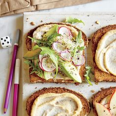 Avocado, Sprout, and Cashew Spread Sandwich | CookingLight.com #myplate #veggies #protein