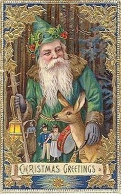 Vintage Christmas Post Card Santa with Deer. Vintage Christmas Images, Christmas Scenes, Old Fashioned Christmas, Christmas Past, Victorian Christmas, Father Christmas, Vintage Holiday, Christmas Pictures, Christmas Greetings