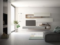 furniture arrangement ideas The free geometries, the wall architectures and the accessories are upda Living Room Wall Units, Small Living Room Furniture, Living Room Tv Unit Designs, Ikea Living Room, Living Room Modern, Living Rooms, Tv Unit Furniture, Furniture Design, Casa Loft