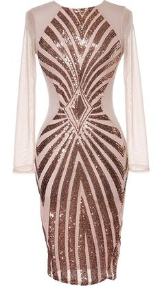 Super Power Dress: Features a pretty pale pink foundation, long well-tailored sleeves, geometrically striking bronze sequin design to the front, and a sophisticated midi-length hem to finish.