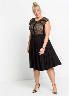 Rochie cu dantelă • negru • bonprix magazin