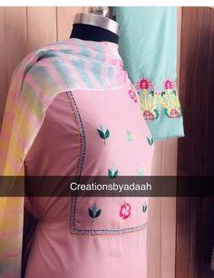 Salwar Suit Neck Designs, Neck Designs For Suits, Kurta Neck Design, Punjabi Suits Designer Boutique, Boutique Suits, Indian Designer Suits, Embroidery Suits Punjabi, Embroidery Suits Design, Embroidery Fashion