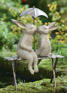 Bunnies on a Bench | Charleston Gardens® - Home and Garden Collection Classic outdoor and garden furnishings, urns & planters and garden-related gifts