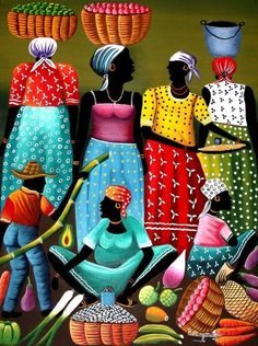 Colours and life. Haitian Art, African Paintings, Caribbean Art, Art Africain, Africa Art, Black Artwork, Tropical Art, Arte Pop, Black Women Art