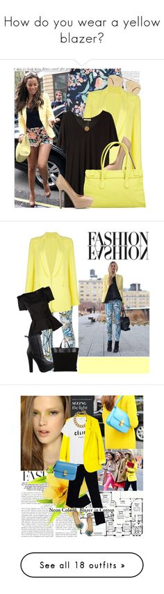 """""""How do you wear a yellow blazer?"""" by lsamsam ❤ liked on Polyvore featuring Paul & Joe Sister, Giorgio Armani, MSGM, T By Alexander Wang, Sergio Rossi, Ginette NY, Proenza Schouler, women's clothing, women and female"""