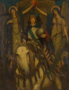The Failure of Sir Gawain, c.1890, Edward Burne-Jones (A Mounted Knight Flanked by two Angels)