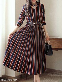 Long Sleeve Striped Dress, Vertical Striped Dress, Dress Long, Striped Dress Outfit, Vertical Stripes, Casual Dresses, Fashion Dresses, Maxi Dresses, Wedding Dresses